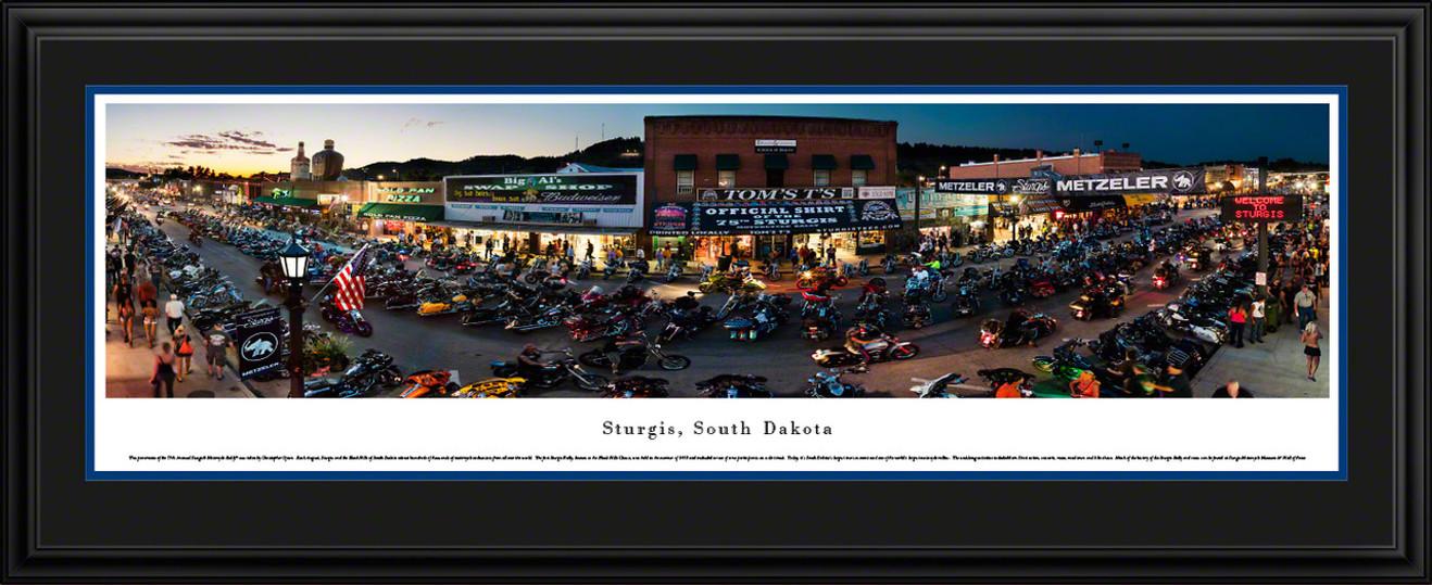 Sturgis, South Dakota Panoramic Picture - Sturgis Motorcycle Rally - Twilight