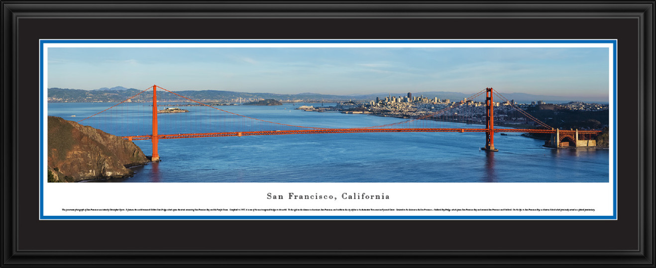 San Francisco, California City Skyline Panoramic Picture - Golden Gate Bridge