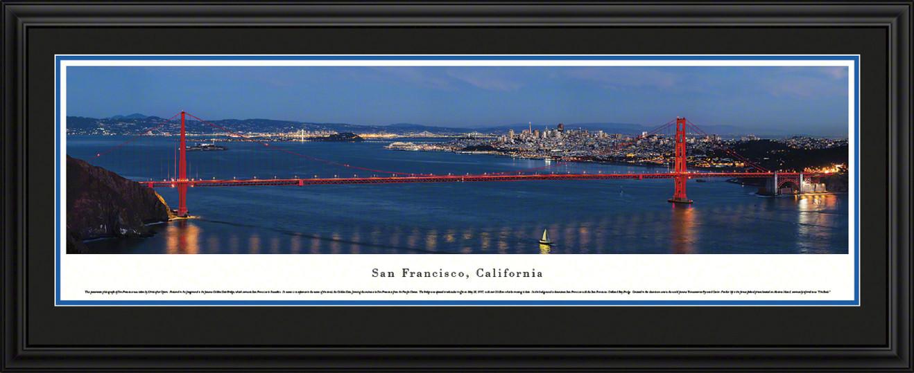 San Francisco, California City Skyline Panoramic Picture - Golden Gate Bridge - Twilight