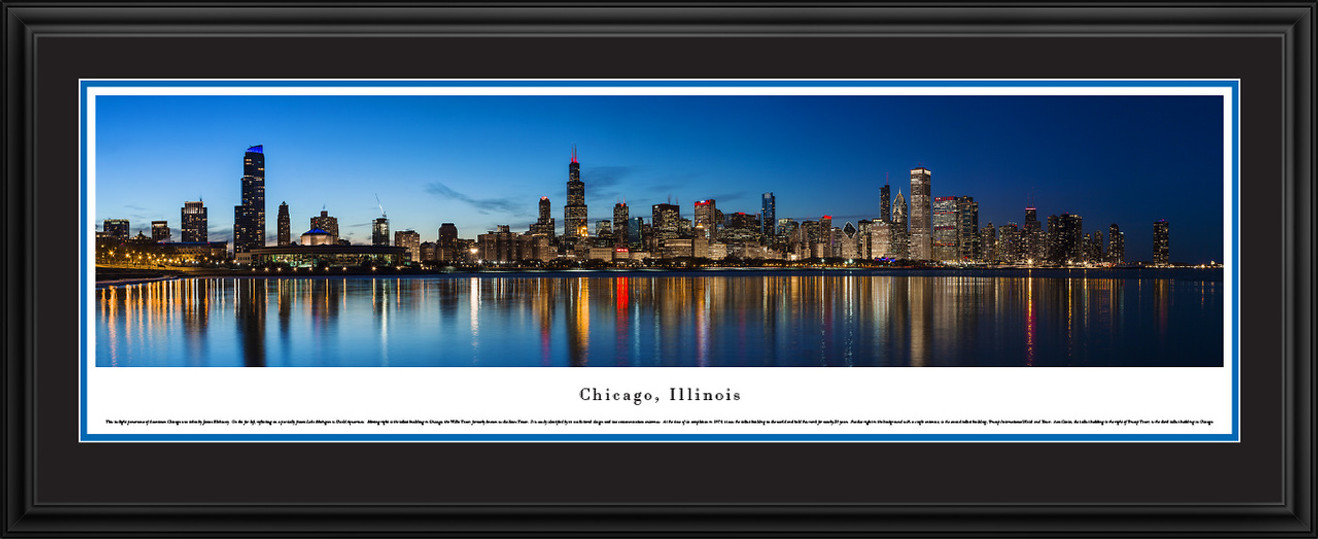 Chicago, Illinois City Skyline Panoramic Picture - Twilight