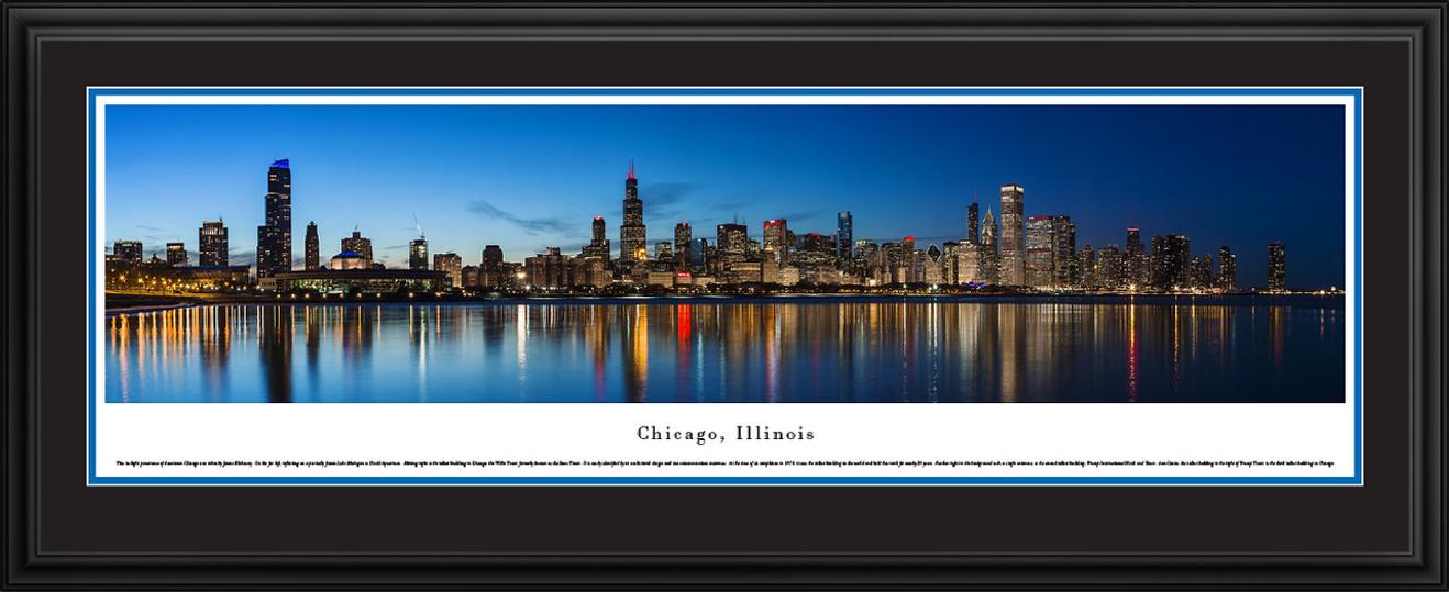 Chicago, Illinois City Skyline Panoramic Picture - Twilight