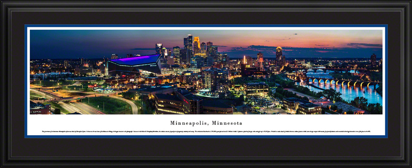 Minneapolis, Minnesota Skyline Panoramic Picture - Twilight