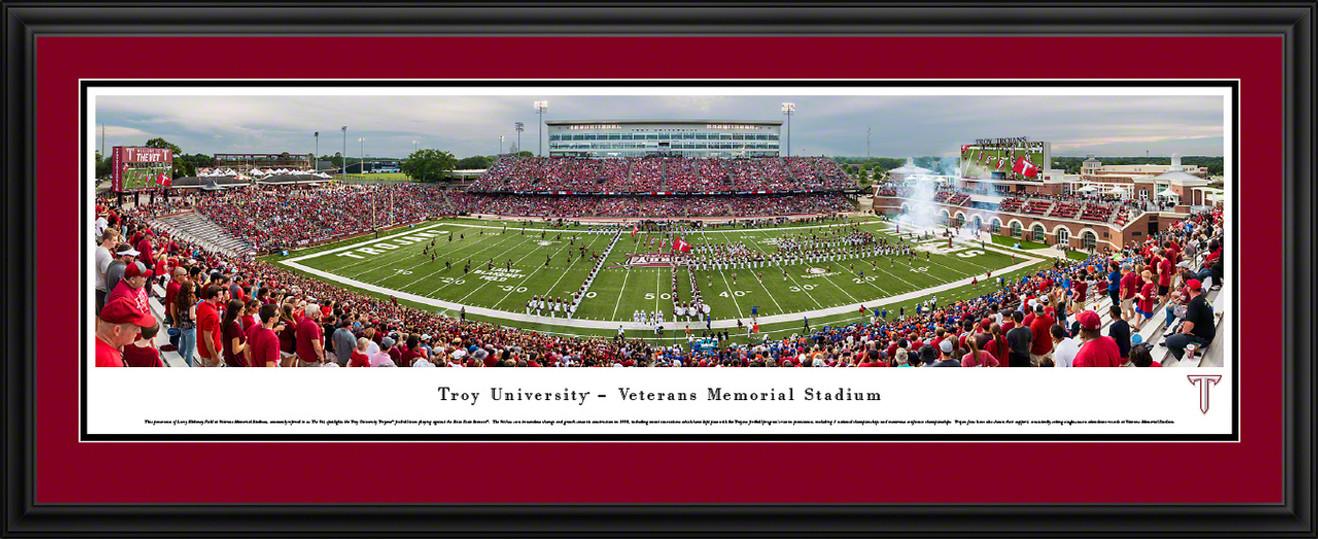 Troy Trojans Football Panorama - Veterans Memorial Stadium Fan Cave Decor