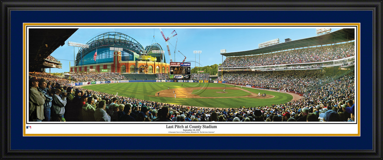 Milwaukee Brewers Panorama - Last Pitch at County Stadium - MLB Wall Decor