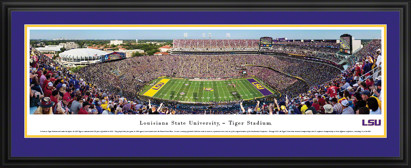 LSU Tigers Football Poster Panoramic Fan Cave Decor
