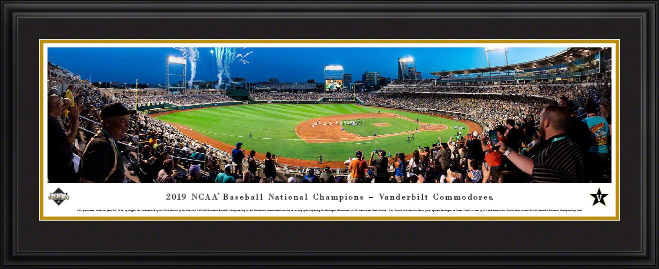 2019 College World Series Baseball Poster - Vanderbilt Celebration Panorama