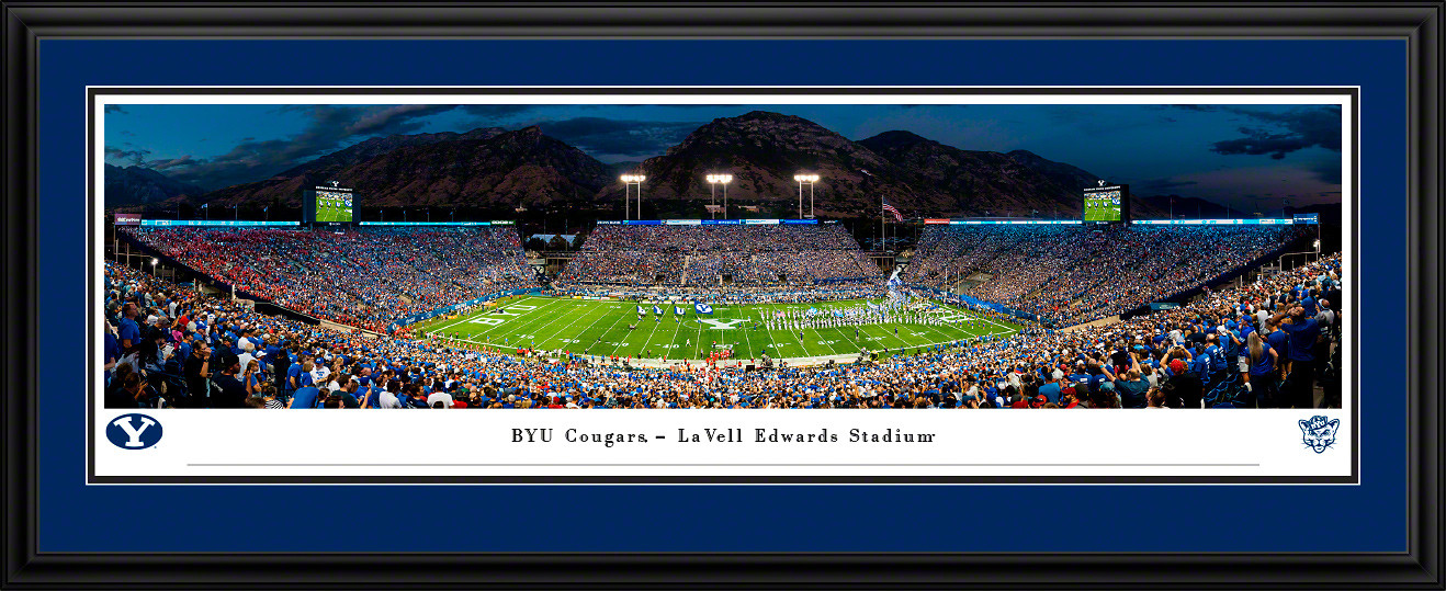 Brigham Young Cougars Football Panoramic Poster - LaVell Edwards Stadium Picture