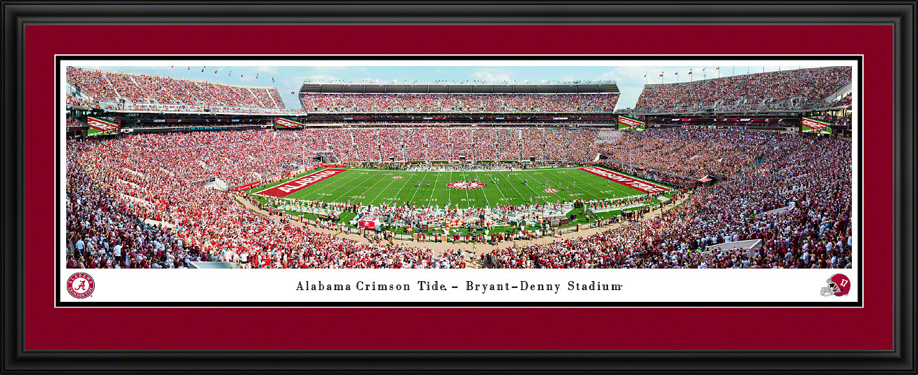 Alabama Crimson Tide Football Panoramic Poster - Bryant-Denny Stadium Picture