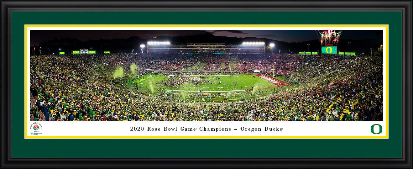 2020 Rose Bowl Game Victory Celebration Panoramic Print - Oregon Ducks