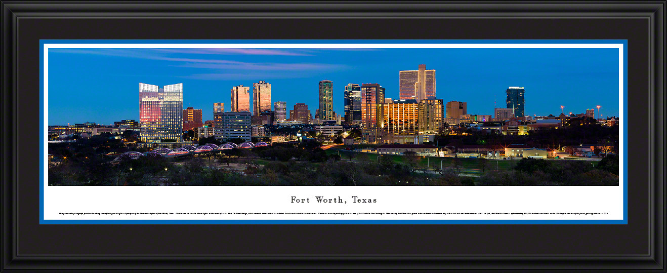 Fort Worth, Texas City Skyline Panoramic Picture - Twilight