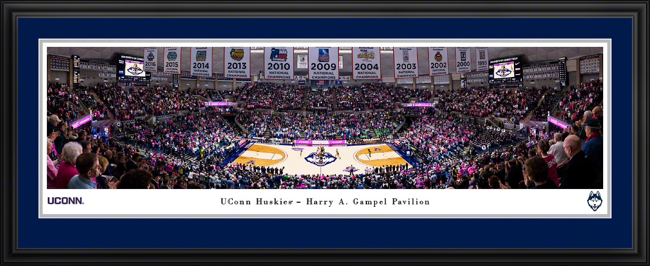 UConn Huskies Women's Basketball Panoramic Poster - Harry A. Gampel Pavilion Picture