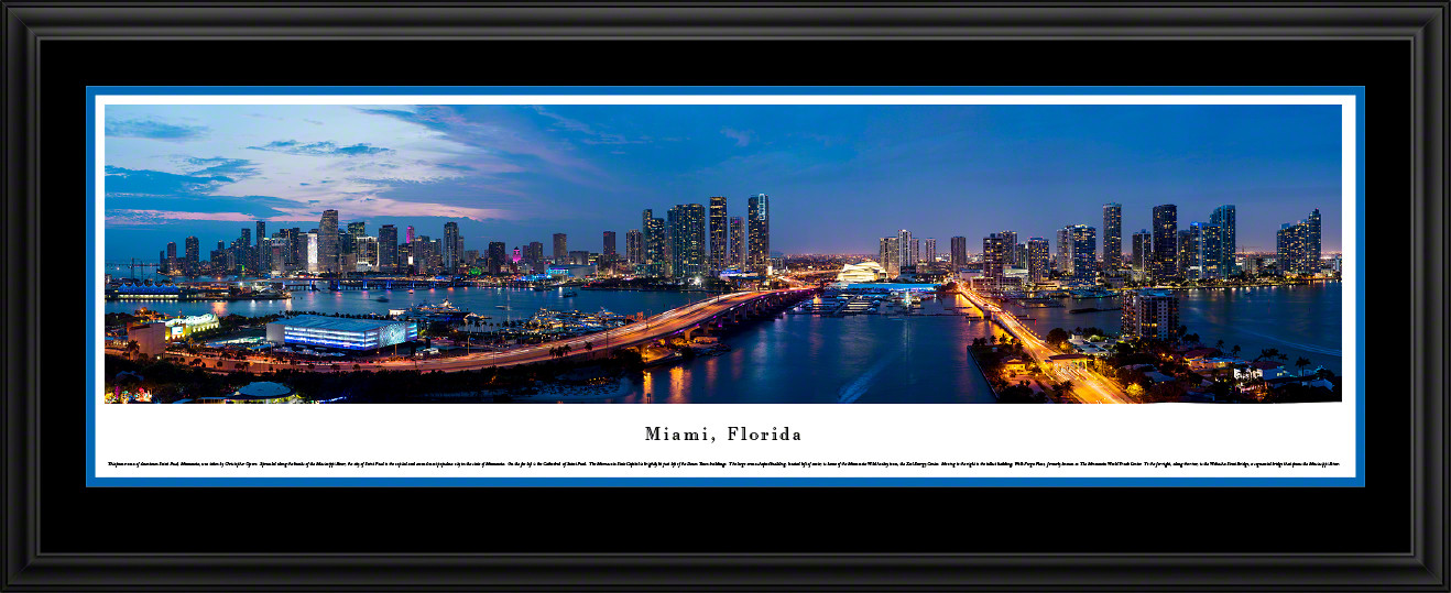 Miami, Florida City Skyline Twilight Panoramic Print