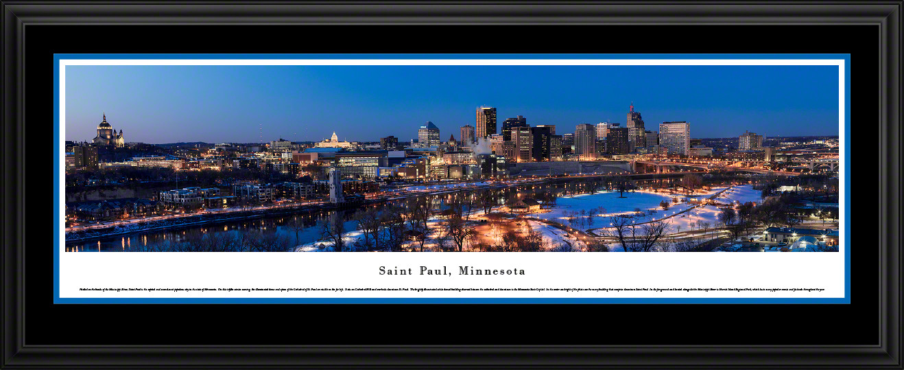 Saint Paul, Minnesota Twilight City Skyline Panoramic Picture