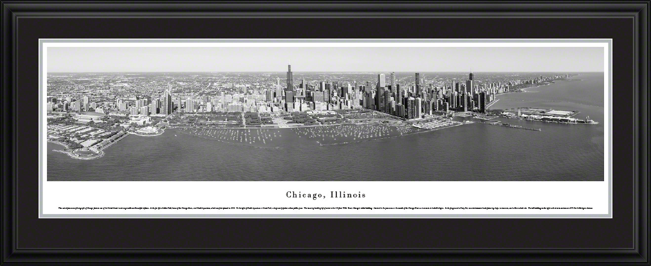 Chicago, Illinois Downtown City Skyline Panoramic Picture - Black and White