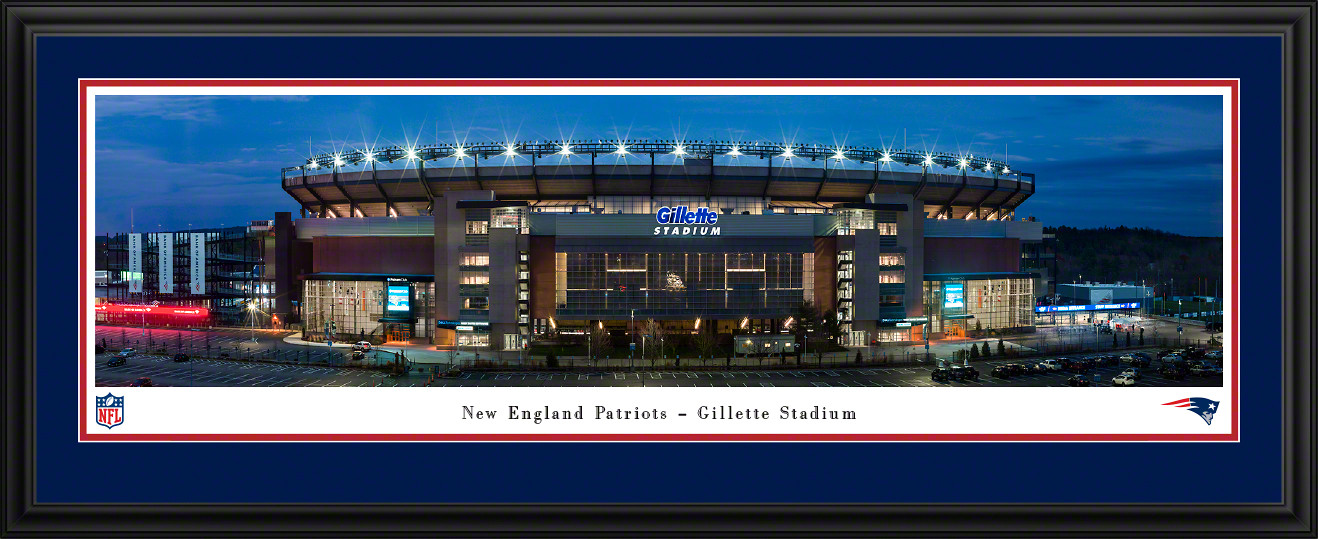 New England Patriots Panoramic Fan Cave Decor - Gillette Stadium NFL Poster