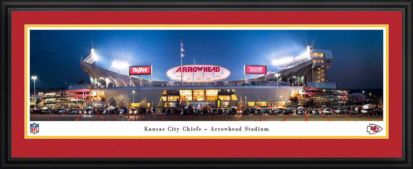 Kansas City Chiefs Panoramic Fan Cave Decor - Arrowhead Stadium NFL Poster
