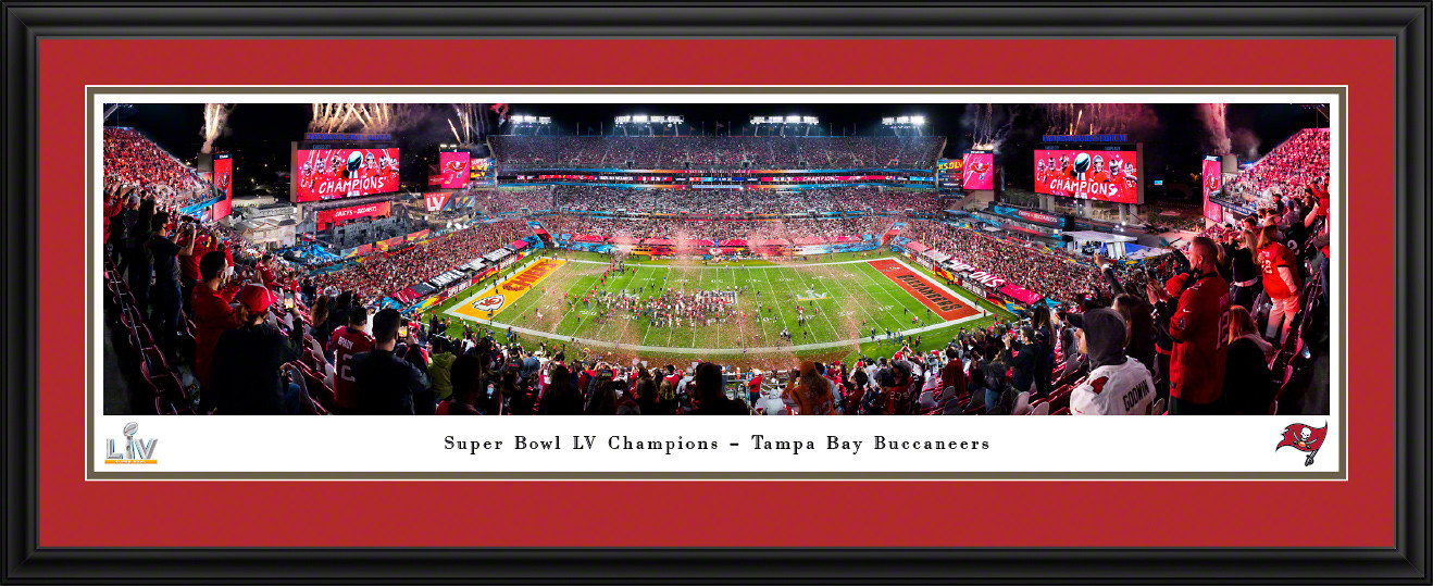 2021 Super Bowl LV Champions Panoramic Poster - Tampa Bay Buccaneers