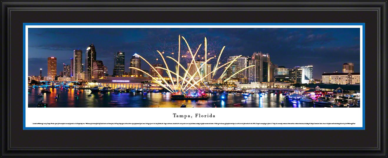 Tampa, Florida Celebration Fireworks - City Skyline Panoramic Wall Decor