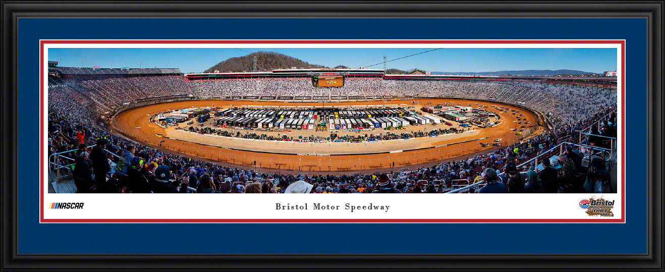 Bristol Motor Speedway Dirt Race Panoramic Poster - NASCAR Aerial Wall Decor