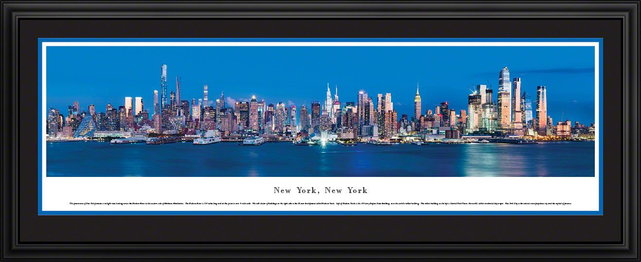 New York City Skyline Panoramic Wall Decor - Manhattan & Hudson River at Twilight