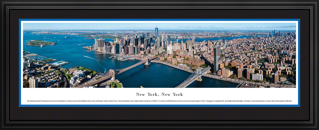 New York City Skyline Panoramic Wall Art - Lower Manhattan & the East River