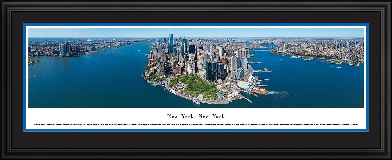 New York City Skyline Panoramic Wall Decor - Lower Manhattan & Battery Park