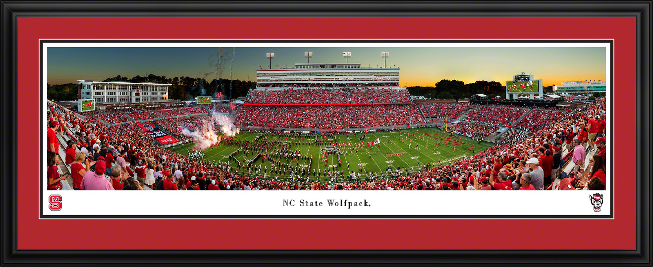 NC State Wolfpack Football Panoramic Fan Cave Decor - Carter-Finley Stadium Picture