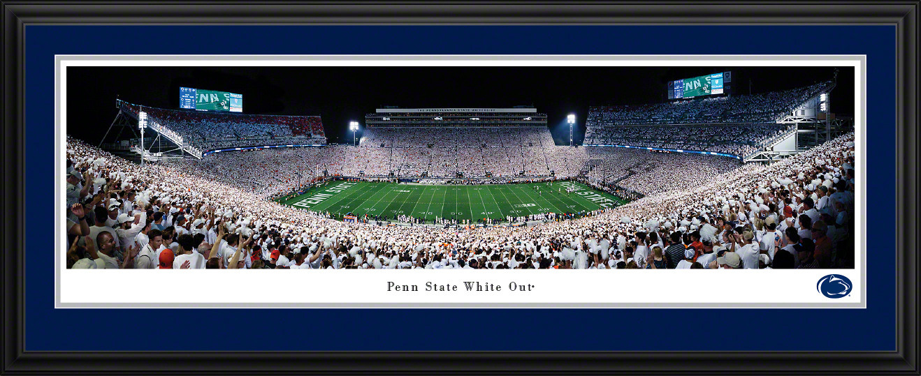 Penn State Nittany Lions Football 2021 White Out Panoramic Picture - Beaver Stadium Decor