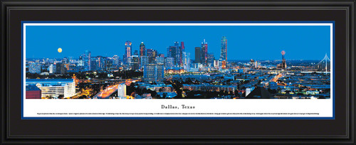 Dallas, Texas City Skyline Panoramic Picture - Twilight
