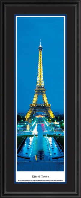 Eiffel Tower Panoramic Picture - Twilight - Vertical Panorama