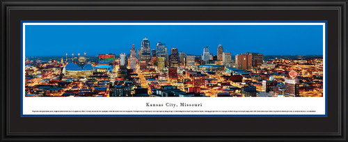 Kansas City, Missouri City Skyline Panoramic Picture - Twilight