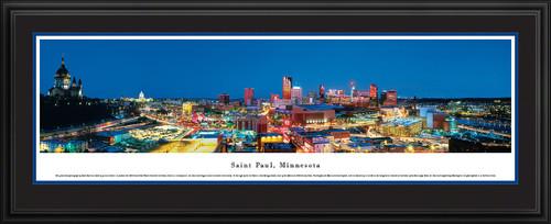 Saint Paul, Minnesota City Skyline Panorama - Winter Carnival Ice Palace - Twilight