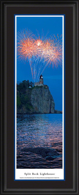 Split Rock Lighthouse Panorama - 100th Anniversary Fireworks - Vertical Picture