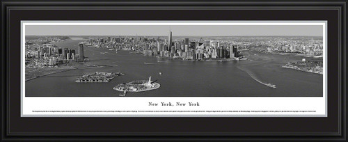 New York City Panoramic Skyline Picture - Lower Manhattan - Black and White