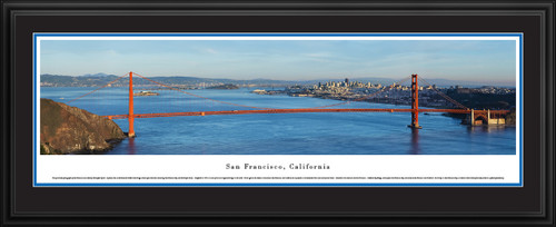 San Francisco, California City Skyline Panoramic Picture - Golden Gate Bridge