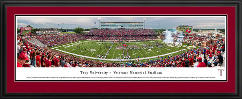 Troy Trojans Football Panorama - Veterans Memorial Stadium Fan Cave Decor