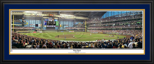 Milwaukee Brewers Panoramic Picture - First Pitch at Miller Park - MLB Wall Decor