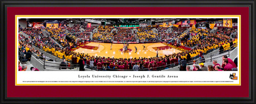 Loyola Ramblers Basketball Panoramic Poster - Joseph J. Gentile Arena Fan Cave Decor