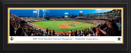 2019 College World Series Baseball Poster - Vanderbilt Celebration Panorama