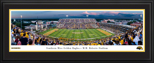 Southern Miss Golden Eagles Football Panoramic Poster - M.M. Roberts Stadium Picture