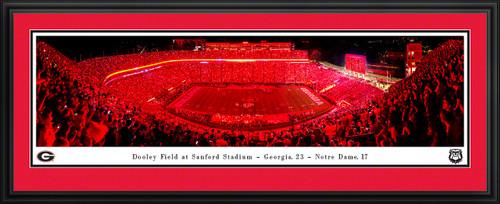 Georgia Bulldogs Football Panoramic Poster - Red Lights at Sanford Stadium