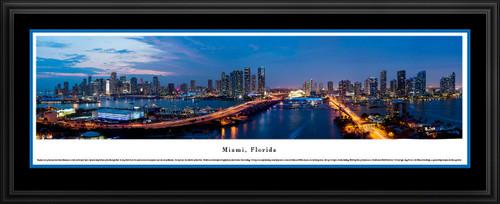 Miami, Florida City Skyline Twilight Panoramic Print