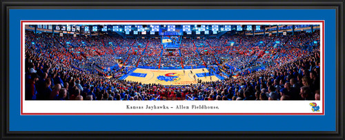 Kansas Jayhawks Basketball Panoramic Poster - Allen Fieldhouse Fan Cave Decor
