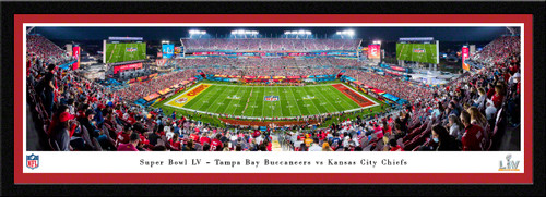 2021 Super Bowl LV Kickoff Panoramic Poster - Kansas City Chiefs vs. Tampa Bay Buccaneers