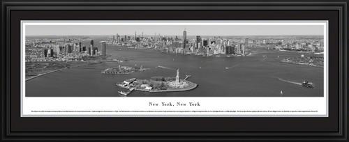 New York City Skyline Black & White Panoramic Wall Decor - Lower Manhattan, Liberty & Ellis Islands