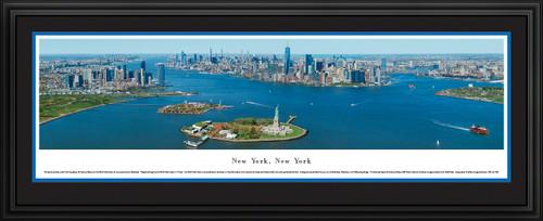 New York City Skyline Panoramic Wall Decor - Lower Manhattan, Liberty & Ellis Islands