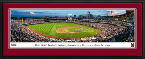 2021 College World Series Baseball Panoramic Picture - Mississippi State Bulldogs Celebration