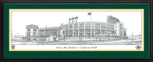 Green Bay Packers Lambeau Field Panoramic Line Art - NFL Wall Decor