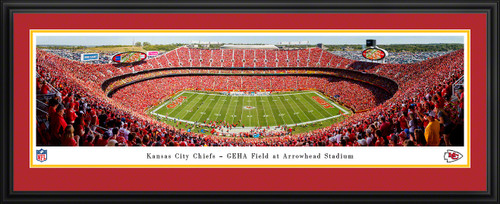 Kansas City Chiefs Panoramic Poster - Arrowhead Stadium NFL Fan Cave Decor
