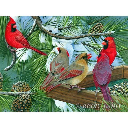 5D Diamond Painting Cardinals in the Snow Branches Kit